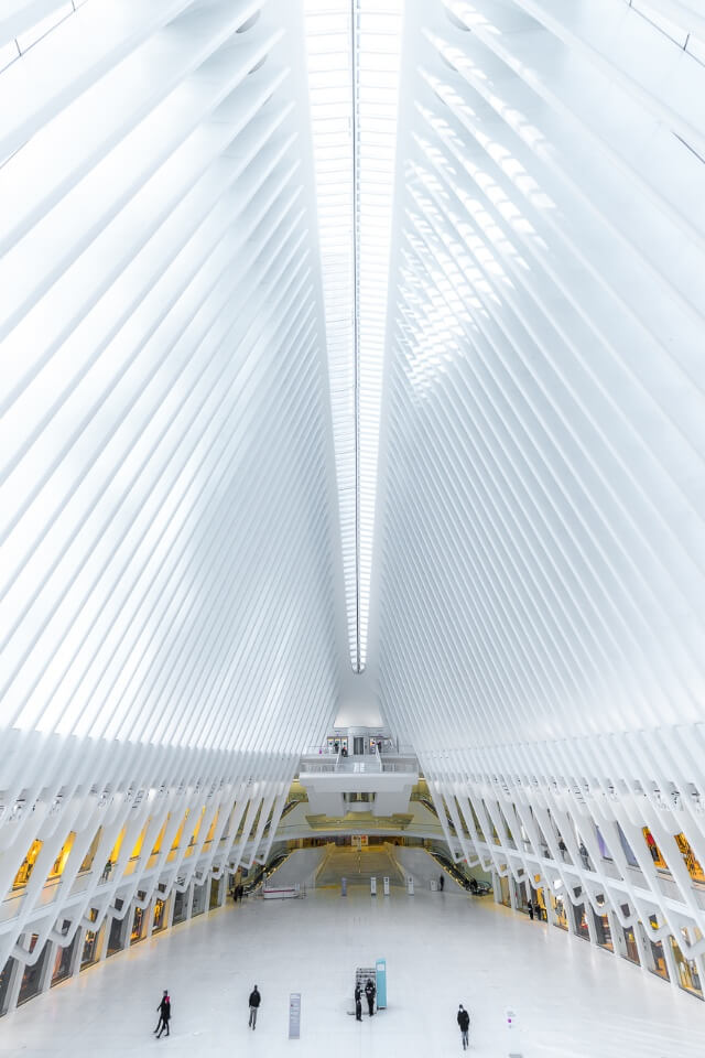 Incredible architecture interior of Oculus in new york city is one of our favorite photography locations immaculate symmetry and incredible bright light inside