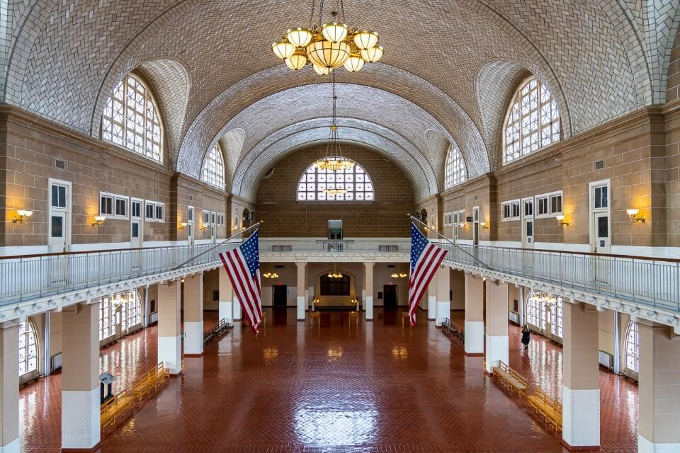 Inside Ellis Island national museum of immigration great arrivals hall stunning symmetry photograph