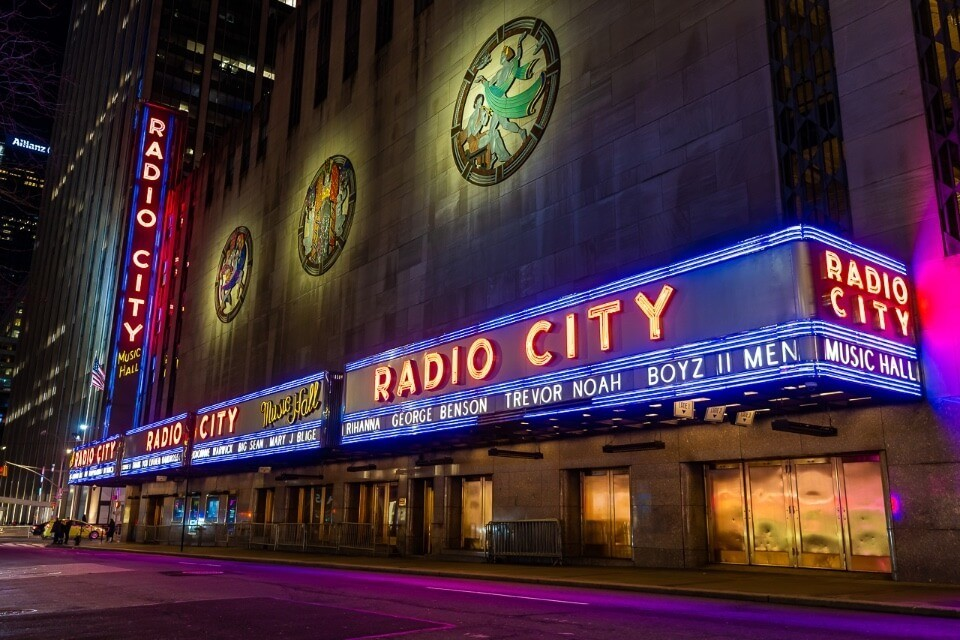 Radio City is a top photo location in new york city when it lights up at night