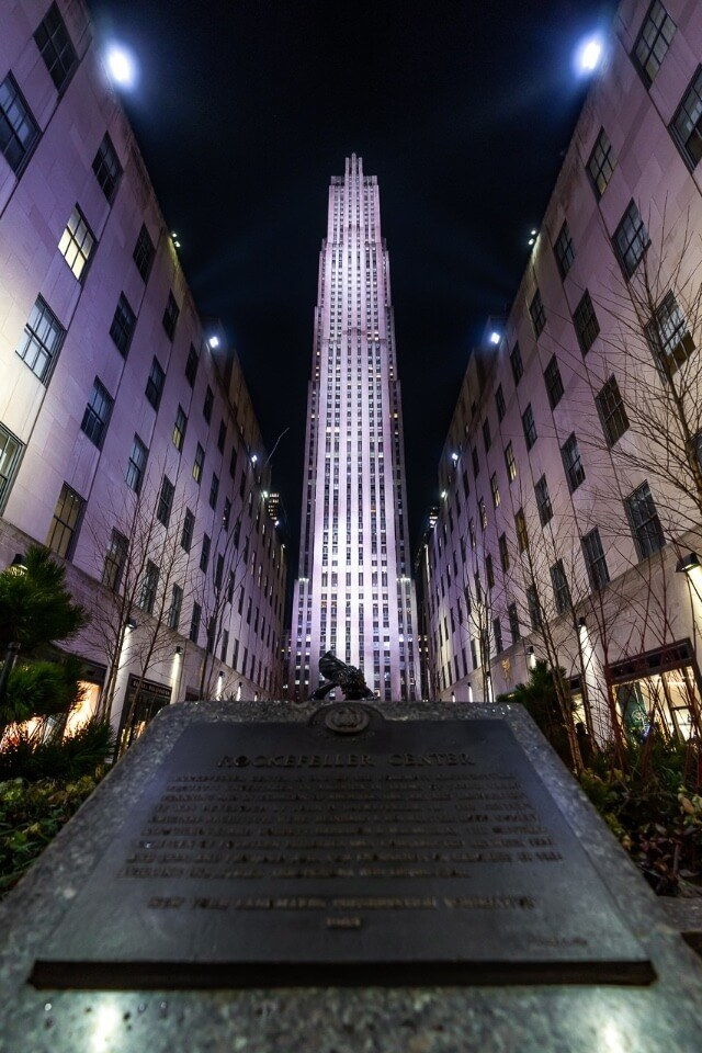 Rockefeller center in new york city wide angle shot to capture the entire building at night