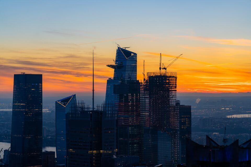 View of the Edge and Hudson Yards at sunset from Top of the Rock in Manhattan