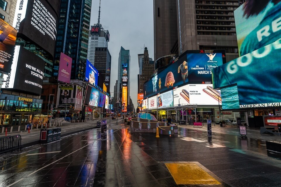 NYC times square before sunrise bright lights and no people around completely empty