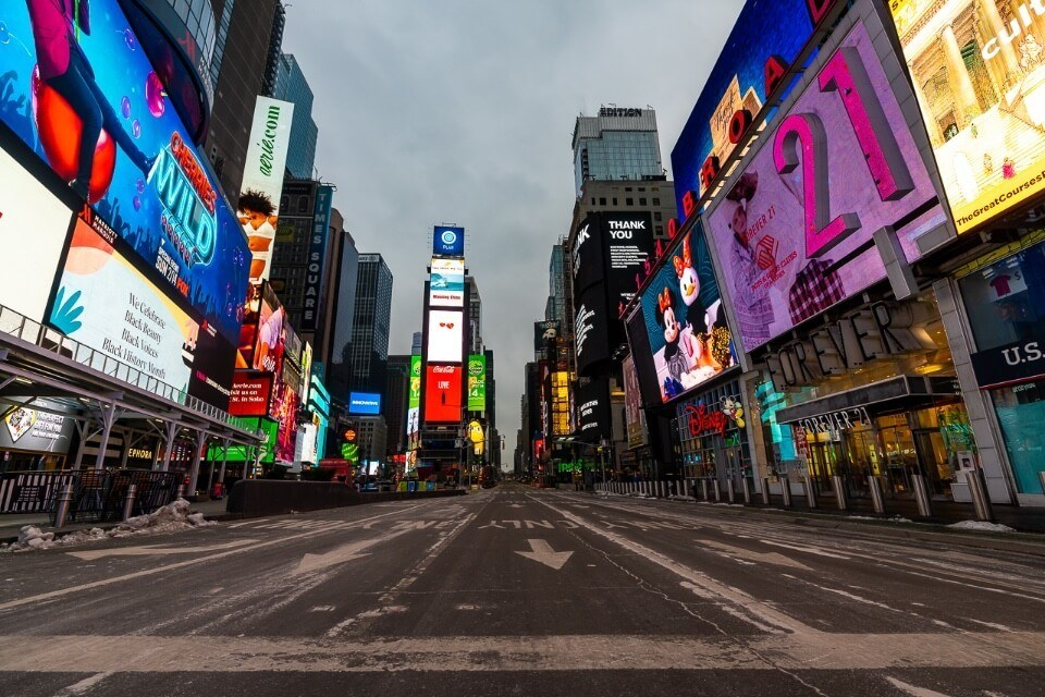 Times square in new york city completely empty with no cars or people at dawn amazing nyc photography