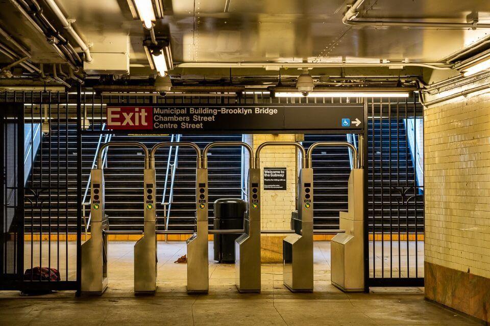 NYC subway station city hall glowing yellow