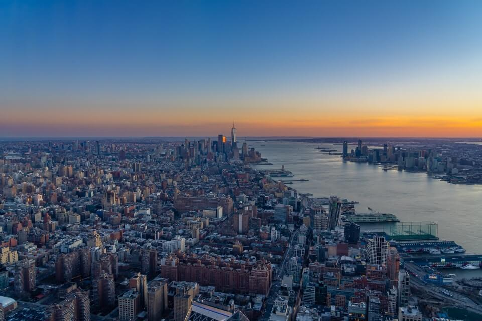 Spectacular sunset views over NYC from Edge sky deck observation platform golden hour photography in new york city