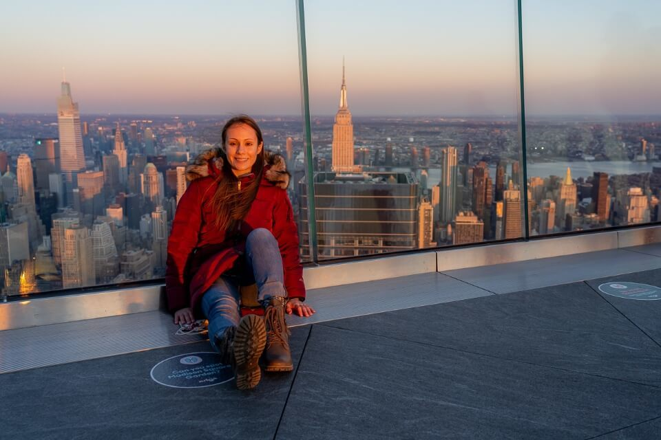 Where are those morgans at the edge nyc during sunset with empire state building in background