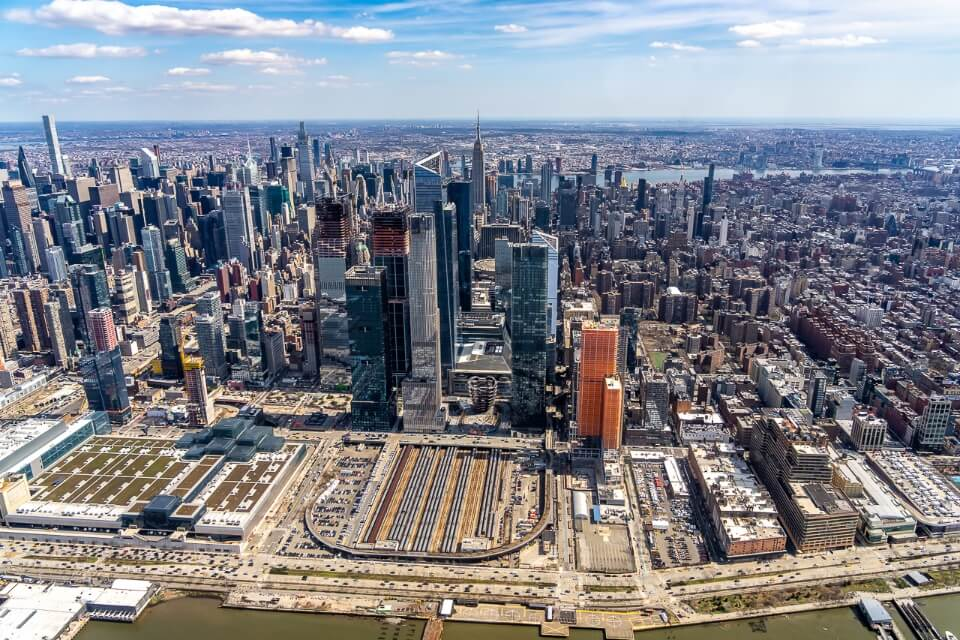 Edge Hudson Yards Midtown Manhattan Central Park from above in a chopper
