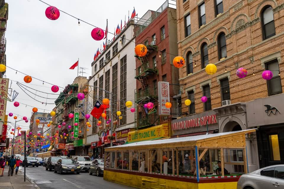 NYC chinatown during the day grey sky colorful lanterns