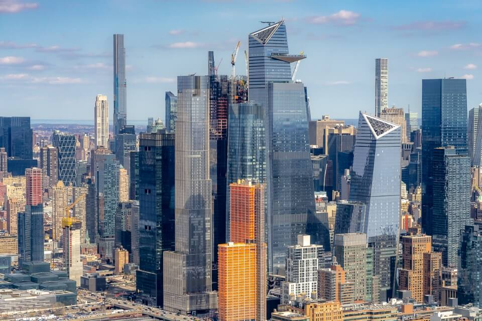 Edge and Hudson Yards development from helicopter ride over NYC