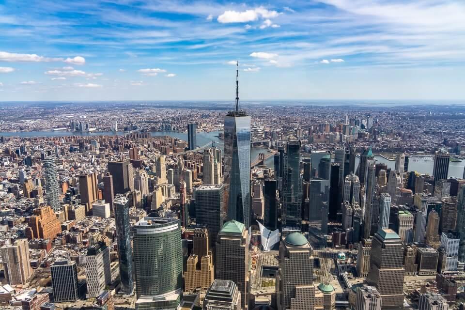 Birds eye view over Manhattan and one world trade center