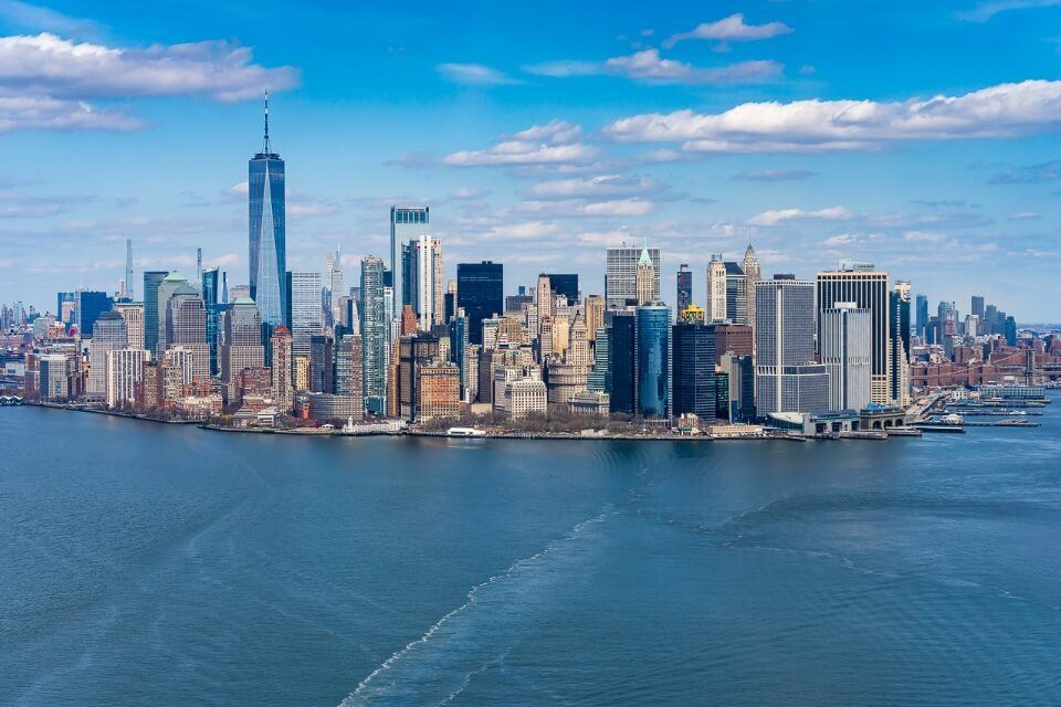 Downtown Manhattan seen from above and out in the bay