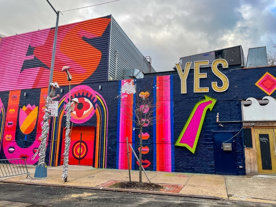 Yes nightclub in brooklyn vibrant colors outside