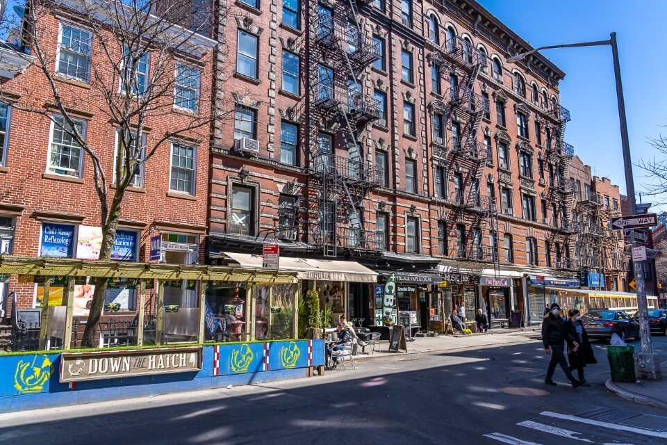 Pubs and bars in greenwich village manhattan on a sunny day