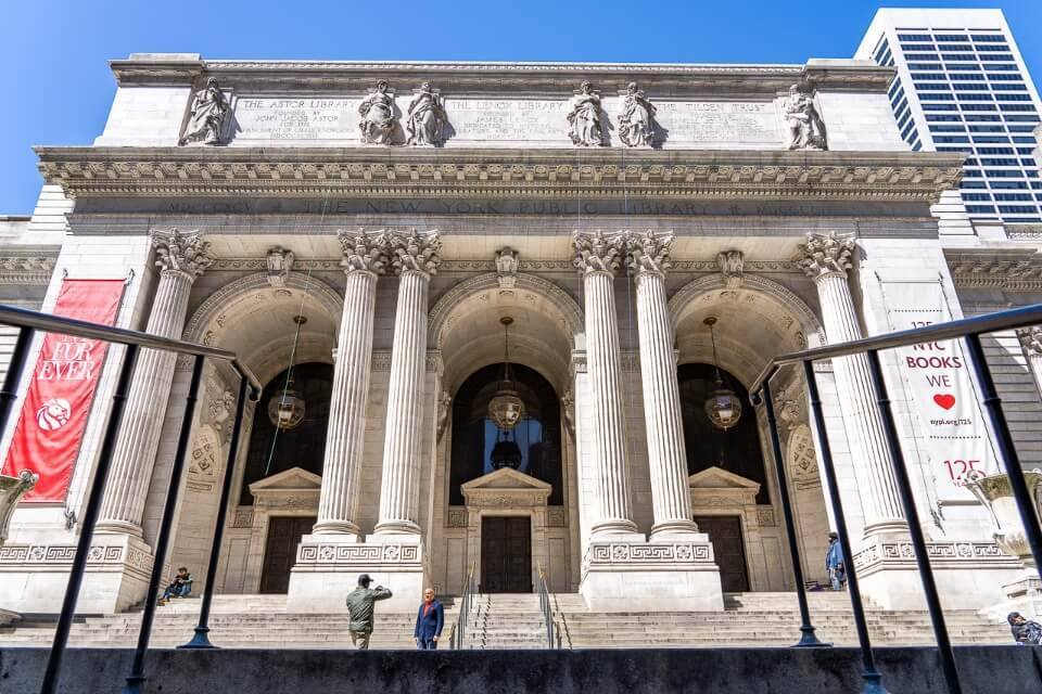 New York public library on fifth avenue is stunning inside and impressive outside