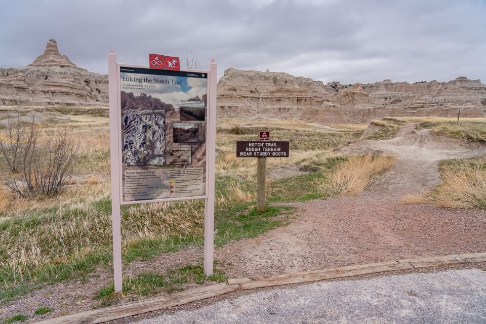 Hiking information board at the start of a hike in south dakota
