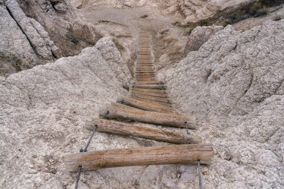 Empty wooden ladder on a rock face Notch Trail Badlands national park best hike where are those morgans