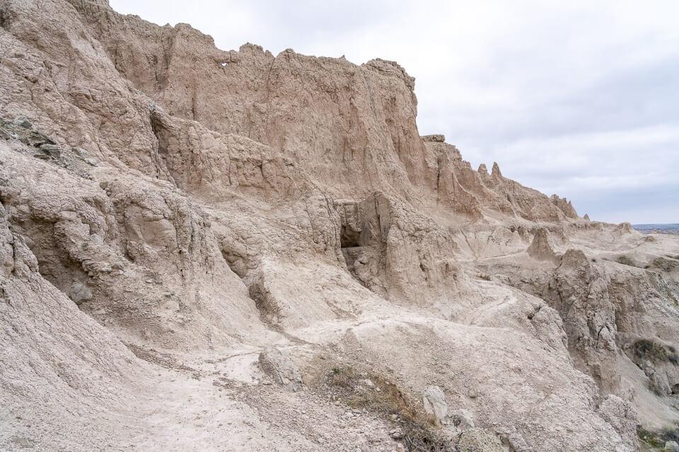 Steep cliff side path on a rocky edge in south dakota