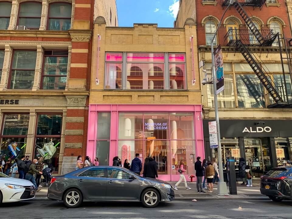 Museum of ice cream in soho colorful exterior and long line to get in