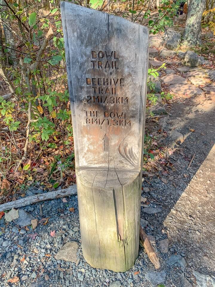 Signpost for hikers to follow and see distances between landmarks in maine