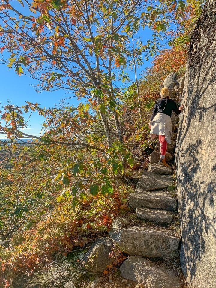 Woman climbing a narrow set of stairs surrounded by colorful leaves on precipice trail hike in acadia national park maine
