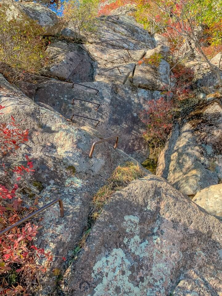 Lots of iron bars sticking out of a sheer granite rock face precipice trail in acadia national park