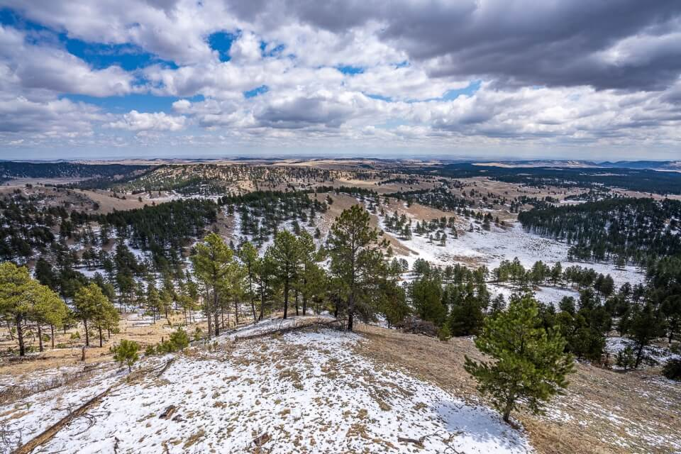 View over the black hills from rankin ridge hike trail overlook and fire watchtower