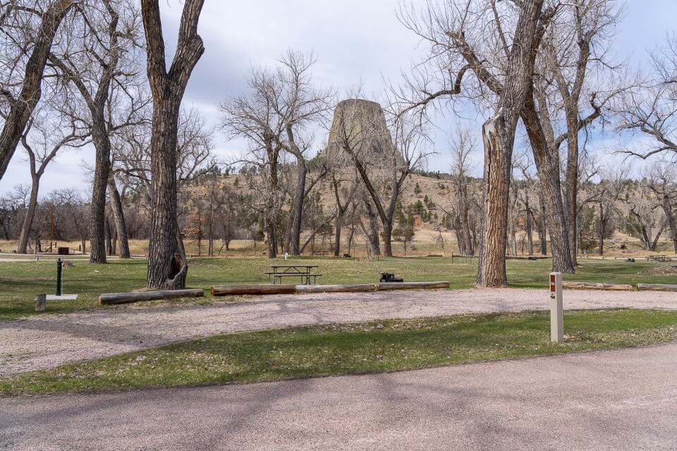 Belle Fourche River Campground in Devils Tower National Monument Wyoming empty camping site