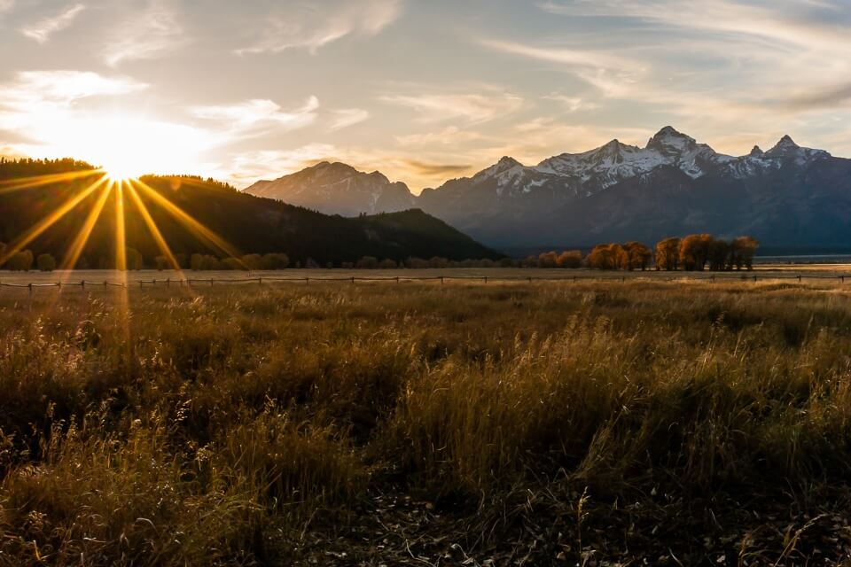 Spectacular meadows mountains at sunset in grand teton national park