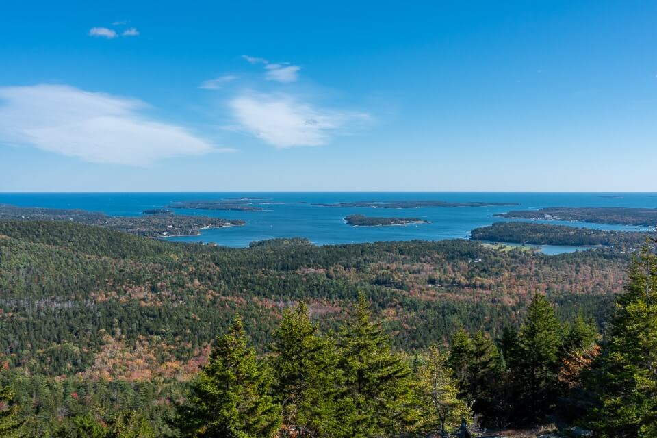 View over lakes ocean and trees from Gorham Mountain