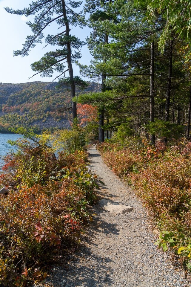 Acadia best things to do walk along gorgeous lakeside hiking trails colorful trees