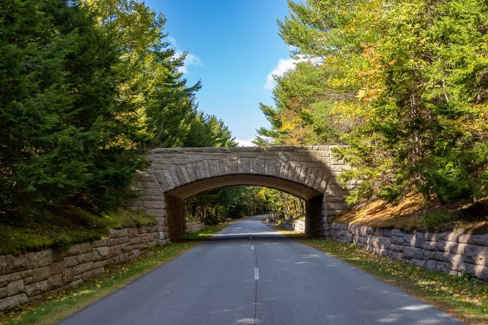 Famous stone bridge on Acadia Loop Road