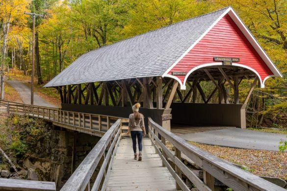 Flume Gorge Franconia Notch State Park New Hampshire Flume Covered Bridge Where Are Those Morgans Kristen Walking Over Wooden Boardwalk Stunning Bridge in Fall Foliage Colors